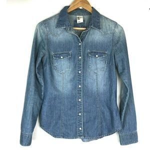 H&M &Denim Button Down Top sz6 Chambray Blue